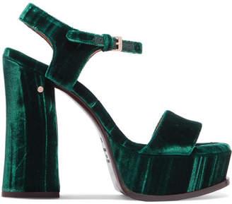 Laurence Dacade - Perla Crushed-velvet Platform Sandals - Emerald $820 thestylecure.com
