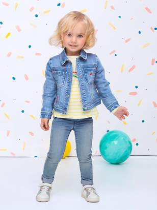 Vertbaudet Denim Jacket with Iridescent Graffiti & Embroidered Patch for Girls