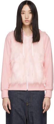 Comme des Garcons Pink Faux-Fur Panel Hoodie