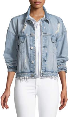 Hudson Rei Distressed Cropped Denim Jacket