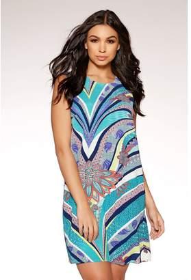 Quiz Green And Blue Print Tunic Dress