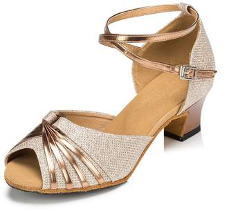 Miyoopark Women's Ankle Strap Gold Glitter Latin Tanog Dancing Shoes Female Wedding Prom Sandals US 6