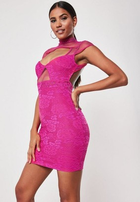 Missguided Hot Pink Lace Fishnet Cut Out Bodycon Mini Dress