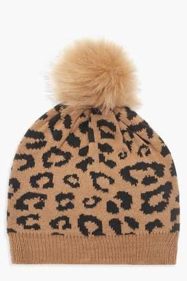 boohoo Leopard Faux Fur Pom Beanie