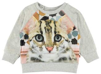 Molo Elsa Cat Face Print Sweatshirt, Size 6-24 Months