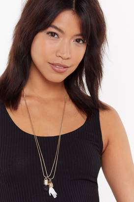 Nasty Gal Hands Off Layered Charm Necklace