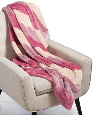 Martha Stewart Collection Ombré Stripe Faux-Fur Throw, Created for Macy's