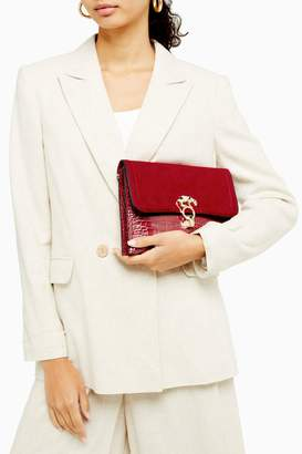 Topshop Red Clutch Bag With Panther
