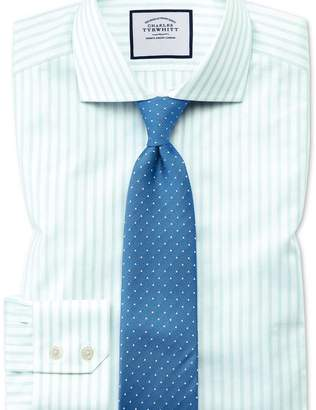 Charles Tyrwhitt Extra slim fit cutaway textured stripe green and white shirt