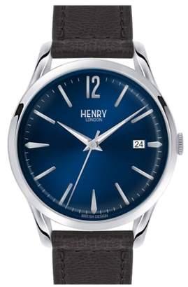 Henry London 'Knightsbridge' Leather Strap Watch, 38mm
