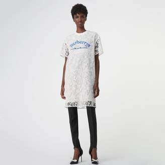Burberry Embroidered Archive Logo Lace Dress
