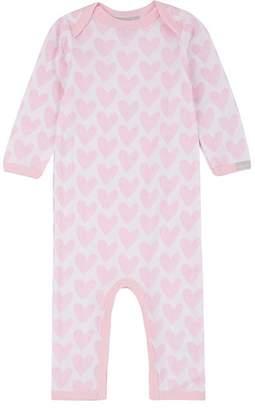 Cocolli COCOLLI INFANTS' HEART-PRINT COTTON-BLEND LONG-SLEEVE ROMPER