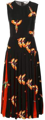 Diane von Furstenberg bird print pleated dress