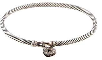 David Yurman Diamond Cable Collectibles Heart Lock Bracelet silver Diamond Cable Collectibles Heart Lock Bracelet