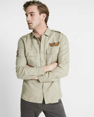 Express Embroidered Linen-Blend Twill Shirt