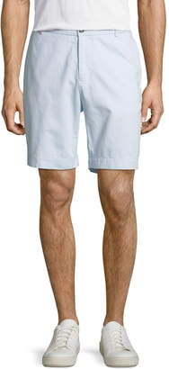 Tailorbyrd Twill Flat-Front Shorts, Light Blue