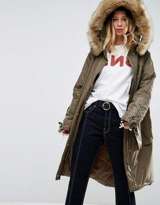Asos Parka With Lace Up Dip Hem