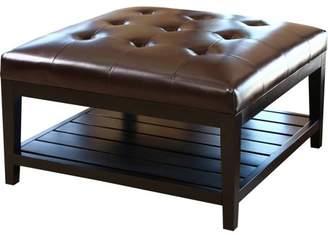 Devon & Claire Trafford Dark Brown Leather Square Coffee Table Ottoman