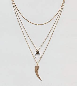 Orelia Gold Layering Necklace Pack With Cresent Detail