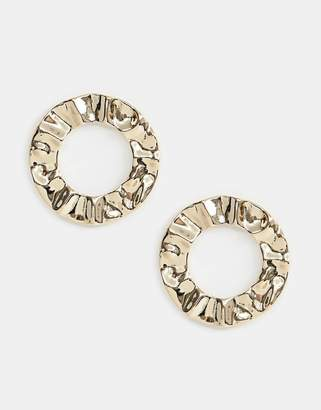 Missguided circle statement earrings in gold