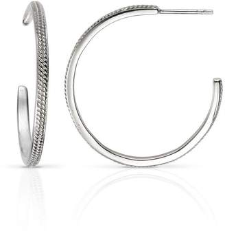 At John Greed Jewellery Aiyana Christa Large Silver Hoop Earrings With Millegrain Pattern