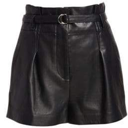 3.1 Phillip Lim Women's Origami Leather Shorts - Black - Size 0
