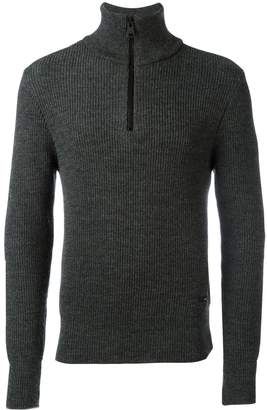 Ami Paris fisherman rib half zipped sweater