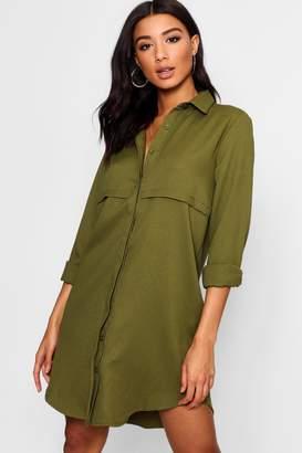 boohoo Double Placket Woven Shirt Dress