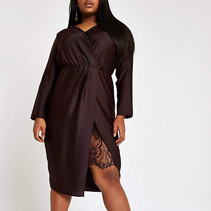 Womens Plus Purple wrap front waisted midi dress