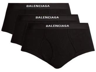 Balenciaga - Set Of Three Ribbed Cotton Briefs - Mens - Black