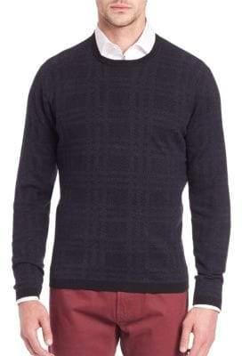 Saks Fifth Avenue Plaid Silk & Cashmere Sweater