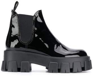 Prada shiny leather slip-on boots