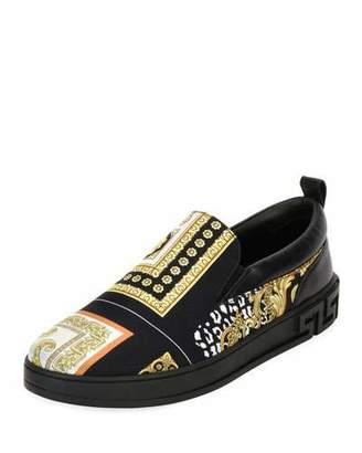 Versace Men's Barocco Silk & Leather Skate Shoe, Black/Gold $595 thestylecure.com