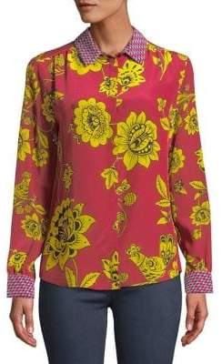 Max Mara Valery Floral Silk Button-Down Shirt