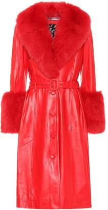 Saks Potts Foxy fur-trimmed leather coat