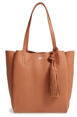 Vince Camuto Small Taja Leather Tote With Tassel Charm - Brown $248 thestylecure.com