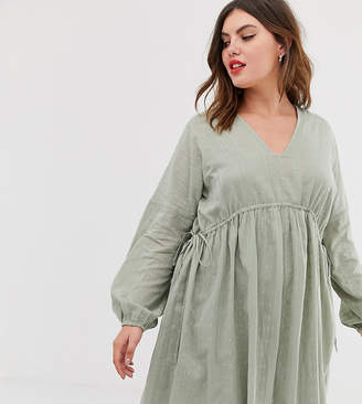 Asos DESIGN Curve v front v back mini smock dress in texture with long sleeves