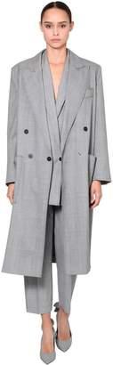 Max Mara Light Wool Prince Of Wales Trench Coat