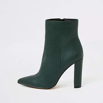 River Island Dark green pointed toe block heel boots
