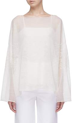 MS MIN Wide sleeve floral jacquard knit top