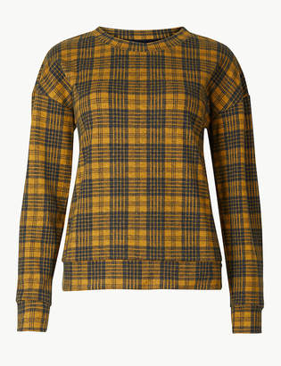 Marks and Spencer Checked High Neck Long Sleeve T-Shirt