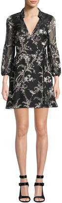 Alice + Olivia Gaston Blouson-Sleeve Wrap Dress