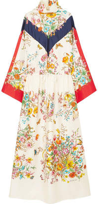 Gucci Floral-print Silk-twill Maxi Dress - Ivory