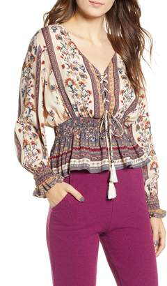 Angie Floral Smocked Lace-Up Top