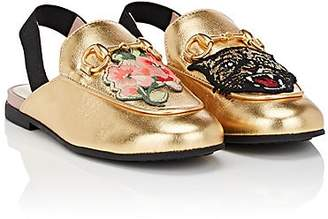 41ccd631c34 Gucci Kids  Princetown Leather Slingback Slippers - Gold