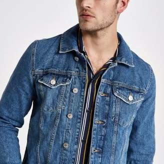 River Island Stonewash fleece collar denim jacket
