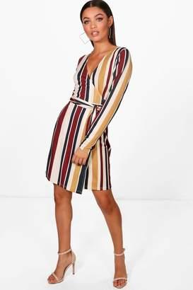 boohoo Stripe Long Sleeve Wrap Dress