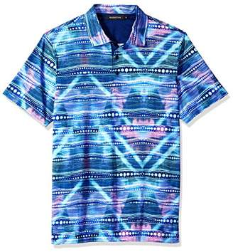 Bugatchi Men's Soft Finish Fitted Multi Dimensional Print Polo Shirt