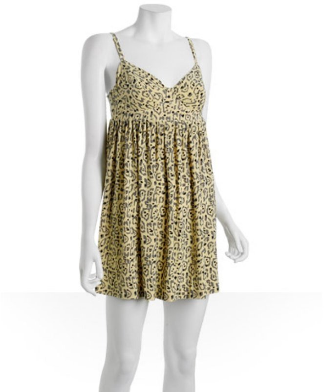 Norma Kamali yellow leopard jersey underwire babydoll