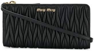 Miu Miu matelassé leather clutch bag